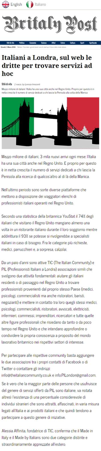 Italiani a londra sul web le dritte per trovare servizi ad hoc the italian community - Italian ad hoc interviste ...