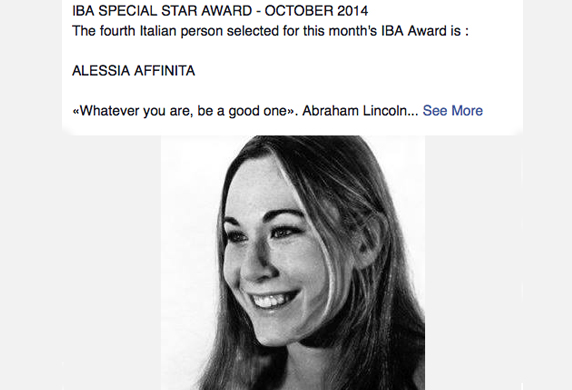 IBA SPECIAL STAR AWARD - The Italian Community United Kingdom Founder & Director Alessia Affinita