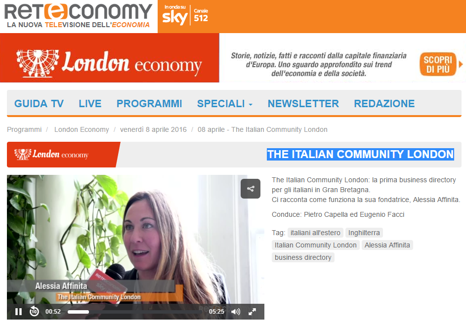 The Italian Community London - RetEconomy SKY canale 512