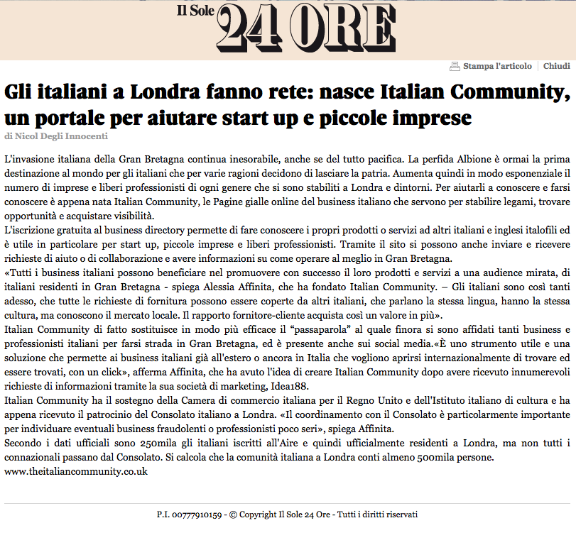 The Italian Community Londra