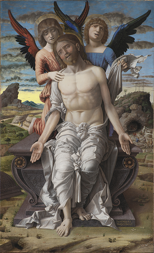 cristo in pietà sorretto da due angeli mantegna