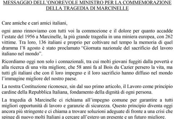 08 agosto - GIORNATA DEL SACRIFICIO DEL LAVORO ITALIANO NEL MONDO - 58° ANNIVERSARIO DELLA TRAGEDIA DI MARCINELLE - Per non dimenticare