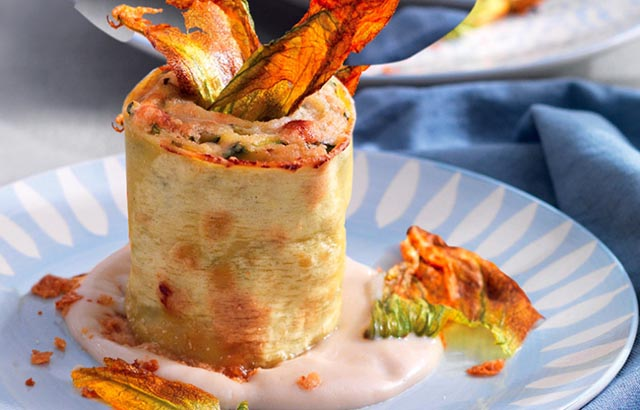 Courgettes roll with anchovy sauce | Italian recipes